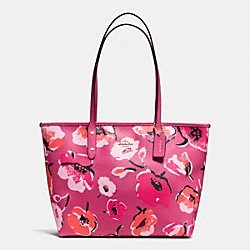 COACH LARGE CITY ZIP TOTE IN WILDFLOWER PRINT COATED CANVAS - IMITATION GOLD/DAHLIA MULTI - F37266