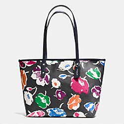 LARGE CITY ZIP TOTE IN WILDFLOWER PRINT COATED CANVAS - f37266 - SILVER/RAINBOW MULTI