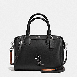 COACH COACH X PEANUTS MINI BENNETT SATCHEL IN CALF LEATHER - SILVER/BLACK - F37272