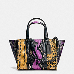 COACH MINI CROSBY CARRYALL IN PIECED EXOTIC EMBOSSED LEATHER - DARK GUNMETAL/WILDFLOWER MULTI - F37286