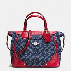 COACH MICKIE SATCHEL IN CROC EMBOSSED DENIM JACQUARD - IMITATION GOLD/DENIM/CLASSIC RED - F37313