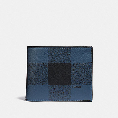 COACH 3-IN-1 WALLET WITH BUFFALO CHECK PRINT - BLUE MULTI/BLACK ANTIQUE NICKEL - F37352