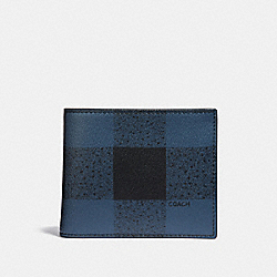 3-IN-1 WALLET WITH BUFFALO CHECK PRINT - BLUE MULTI/BLACK ANTIQUE NICKEL - COACH F37352