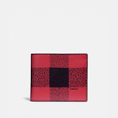 COACH 3-IN-1 WALLET WITH BUFFALO CHECK PRINT - RED MULTI/BLACK ANTIQUE NICKEL - F37352