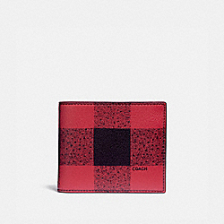 3-IN-1 WALLET WITH BUFFALO CHECK PRINT - RED MULTI/BLACK ANTIQUE NICKEL - COACH F37352