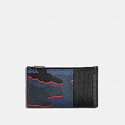 ZIP CARD CASE WITH CAMO PRINT - BLUE MULTI/BLACK ANTIQUE NICKEL - COACH F37353