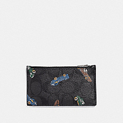 ZIP CARD CASE IN SIGNATURE CANVAS WITH CAR PRINT - ANTIQUE NICKEL/BLACK MULTI - COACH F37356