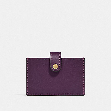 COACH ACCORDION CARD CASE IN COLORBLOCK - PLUM MULTI/BRASS - F37367