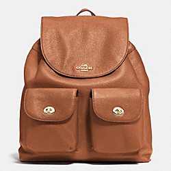 COACH BILLIE BACKPACK IN PEBBLE LEATHER - IMITATION GOLD/SADDLE - F37410