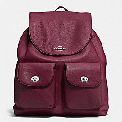 BILLIE BACKPACK IN PEBBLE LEATHER - f37410 - SILVER/BURGUNDY