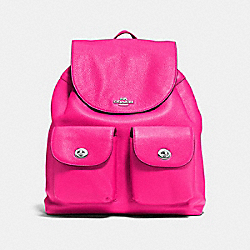 COACH BILLIE BACKPACK IN PEBBLE LEATHER - SILVER/BRIGHT FUCHSIA - F37410