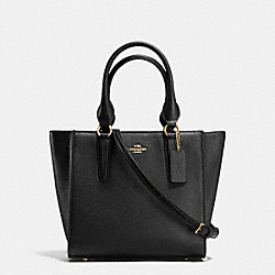 COACH CROSBY CARRYALL 24 IN PEBBLE LEATHER - LIGHT GOLD/BLACK - F37415