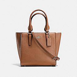 COACH CROSBY CARRYALL 24 IN PEBBLE LEATHER - SILVER/SADDLE - F37415