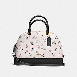 SIERRA SATCHEL IN SMALL WILDFLOWER PRINT COATED CANVAS - f37430 - IMITATION GOLD/CHALK MULTI