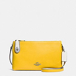 CROSBY CROSSBODY IN BICOLOR LEATHER - f37453 - SILVER/CANARY/CHALK