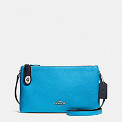 CROSBY CROSSBODY IN BICOLOR LEATHER - f37453 - SILVER/AZURE/NAVY