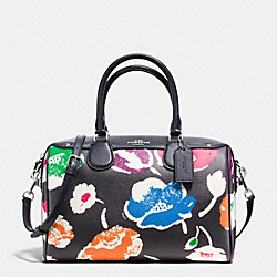 BENNETT SATCHEL IN LARGE WILDFLOWER PRINT COATED CANVAS - f37482 - SILVER/RAINBOW MULTI