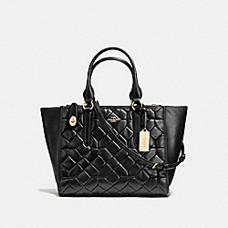 CROSBY CARRYALL IN CANYON QUILT LEATHER - f37486 - LIGHT GOLD/BLACK