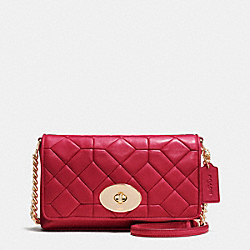 COACH CANYON QUILT CROSSTOWN CROSSBODY IN CALF LEATHER - LIGHT GOLD/TRUE RED - F37488