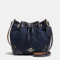 COACH BABY MICKIE DRAWSTRING SHOULDER BAG IN QUILTED DENIM - IMITATION GOLD/DENIM - F37489