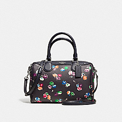 MINI BENNETT SATCHEL IN SMALL WILDFLOWER PRINT COATED CANVAS - f37491 - SILVER/RAINBOW MULTI