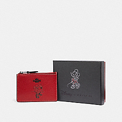 BOXED MINNIE MOUSE MINI SKINNY ID CASE - DARK GUNMETAL/1941 RED - COACH F37536