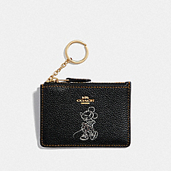 BOXED MINNIE MOUSE MINI SKINNY ID CASE - LIGHT GOLD/BLACK - COACH F37536