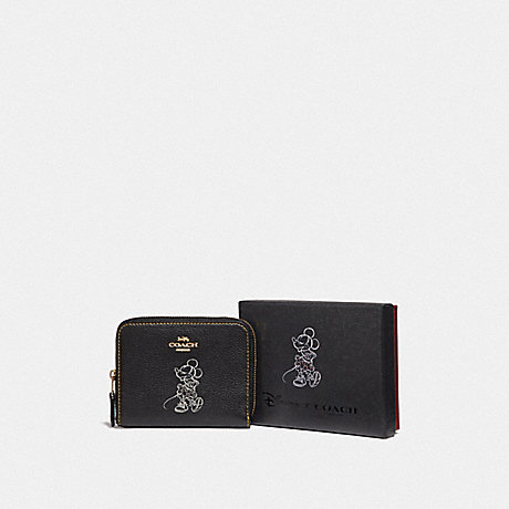 COACH BOXED MINNIE MOUSE SMALL ZIP AROUND WALLET WITH MOTIF - LIGHT GOLD/BLACK - F37538