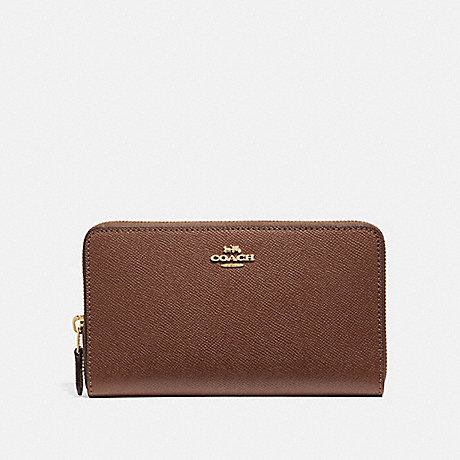 COACH CONTINENTAL ZIP AROUND WALLET - SADDLE 2/IMITATION GOLD - F37544