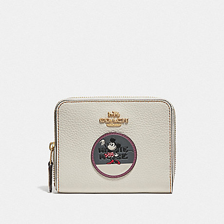 COACH BOXED MINNIE MOUSE SMALL ZIP AROUND WALLET WITH PATCHES - LIGHT GOLD/CHALK - F37546