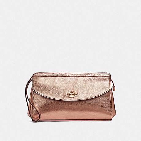 COACH FLAP CLUTCH - ROSE GOLD/LIGHT GOLD - F37550