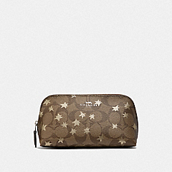 COSMETIC CASE 17 IN SIGNATURE CANVAS WITH POP STAR PRINT - KHAKI MULTI /SILVER - COACH F37551