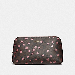 COSMETIC CASE 22 IN SIGNATURE CANVAS WITH POP STAR PRINT - BROWN MULTI/LIGHT GOLD - COACH F37552