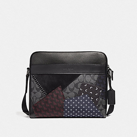 COACH CHARLES CAMERA BAG WITH PATCHWORK - BLACK MULTI/BLACK COPPER FINISH - F37556