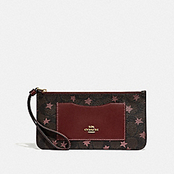 ZIP TOP WALLET IN SIGNATURE CANVAS WITH POP STAR PRINT - BROWN MULTI/LIGHT GOLD - COACH F37564