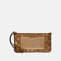 ZIP TOP WALLET IN SIGNATURE CANVAS WITH POP STAR PRINT - KHAKI MULTI /SILVER - COACH F37564