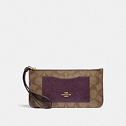 ZIP TOP WALLET IN SIGNATURE CANVAS - KHAKI/METALLIC RASPBERRY/LIGHT GOLD - COACH F37565