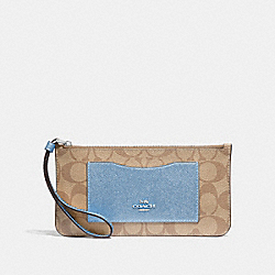 ZIP TOP WALLET IN SIGNATURE CANVAS - LT KHAKI/CORNFLOWER/SILVER - COACH F37565