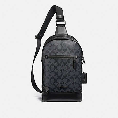 COACH GRAHAM PACK IN SIGNATURE CANVAS - CHARCOAL/BLACK/BLACK ANTIQUE NICKEL - F37573