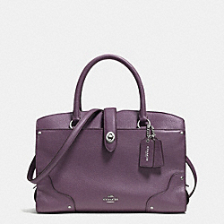COACH MERCER SATCHEL 30 IN GRAIN LEATHER - SILVER/EGGPLANT - F37575