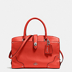 COACH MERCER SATCHEL 30 IN GRAIN LEATHER - SILVER/CARMINE - F37575
