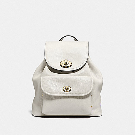 COACH f37581 MINI TURNLOCK RUCKSACK IN PEBBLE LEATHER LIGHT GOLD/CHALK