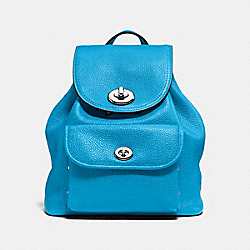 MINI TURNLOCK RUCKSACK IN PEBBLE LEATHER - SILVER/AZURE - COACH F37581