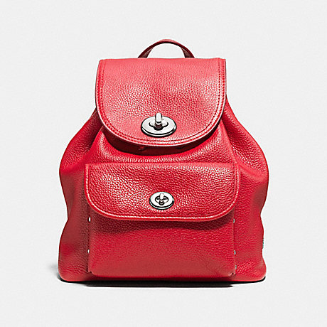 COACH f37581 MINI TURNLOCK RUCKSACK IN PEBBLE LEATHER SILVER/TRUE RED