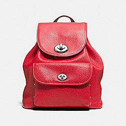 COACH MINI TURNLOCK RUCKSACK IN PEBBLE LEATHER - SILVER/TRUE RED - F37581