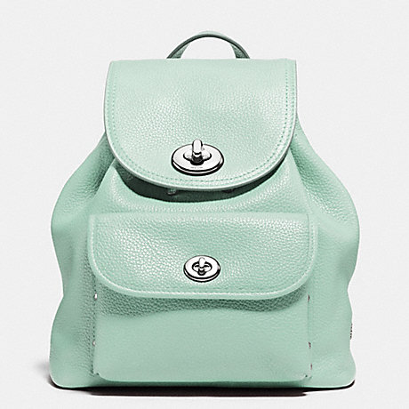 COACH f37581 MINI TURNLOCK RUCKSACK IN PEBBLE LEATHER SILVER/SEAGLASS