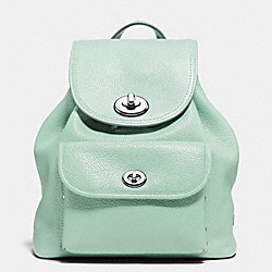 COACH MINI TURNLOCK RUCKSACK IN PEBBLE LEATHER - SILVER/SEAGLASS - F37581