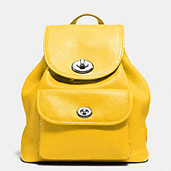 COACH MINI TURNLOCK RUCKSACK IN PEBBLE LEATHER - SILVER/CANARY - F37581