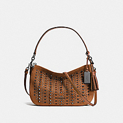 ALL OVER STUDS AND GROMMETS CHELSEA CROSSBODY IN SUEDE - f37583 - ANTIQUE NICKEL/SADDLE