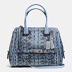 COACH SWAGGER FRAME SATCHEL IN COLORBLOCK EXOTIC EMBOSSED LEATHER - f37585 - DARK GUNMETAL/CORNFLOWER